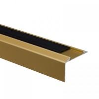 Profil aluminiu pentru treapta, cu banda antiderapanta, SET S38 auriu, 46 mm, 2.7 m