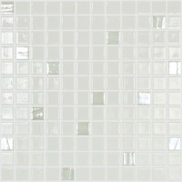 Mozaic din sticla 100/710, mix alb + argintiu, interior / exterior, 31.7 x 31.7 cm