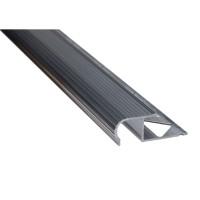 Profil aluminiu pentru treapta, incorporabil, semirotund, SET S81 natur, 2 m
