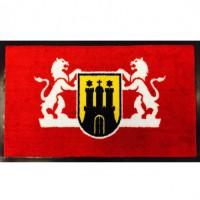 Covor intrare exterior Blazon, fir nylon cu suport  PVC, rosu, dreptunghiular, 75  x  45 cm