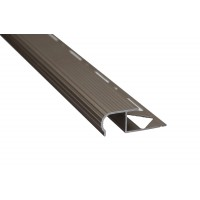 Profil aluminiu pentru treapta, incorporabil, semirotund, SET S81 olive, 2.5 m