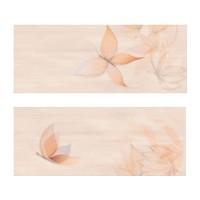 Decor faianta baie / bucatarie Azali 2653-0107, bej, lucios, model floral, 20 x 50 cm, set 2 bucati