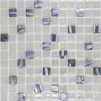 Mozaic din sticla 409/659, mix alb + negru, interior / exterior, 31.7 x 31.7 cm