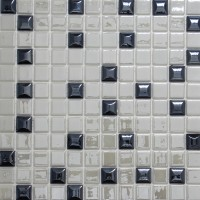 Mozaic din sticla Edna 409 mix alb + negru, interior / exterior, 31.7 x 31.7 cm