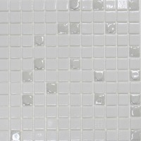 Mozaic din sticla Aura White 100, alb, interior / exterior, 31.7 x 31.7 cm