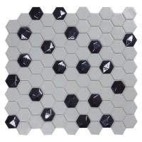 Mozaic din sticla Hex 910/374D, mix, interior / exterior, 30.7 x 31.7 cm