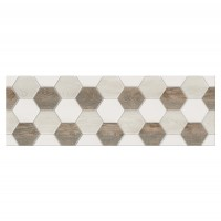 Decor faianta baie / bucatarie Soul Light Hexagon lucios bej 25 x 75 cm