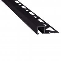 Profil aluminiu de colt exterior pentru gresie si faianta, patrat, negru, 10 x 2700 mm