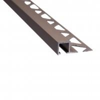 Profil aluminiu de colt exterior pentru gresie si faianta, patrat, olive, 10 x 2700 mm