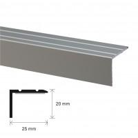 Profil aluminiu pentru treapta, SET S45, autoadeziv, argintiu, 25 x 20 x 100 mm
