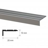 Profil aluminiu pentru treapta, SET S46, autoadeziv, argintiu, 25 x 10 x 100 mm