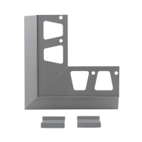 Coltar + 2 imbinari profil picurator pentru balcon / terasa, aluminiu, gri, RAL 7037