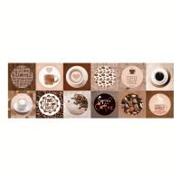 Decor faianta bucatarie Coffe, lucios, crem, 20 x 60 cm