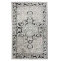 Covor living / dormitor Oriental Weavers Makrana X 1807/OS1, poliolefina + poliester, dreptunghiular, gri + negru, 60 x 110 cm