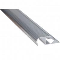 Profil aluminiu pentru treapta, incorporabil, semirotund, SET S82, argintiu, 2.5 m