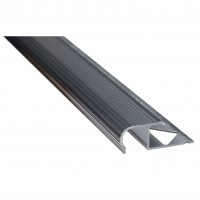 Profil aluminiu pentru treapta, incorporabil, semirotund, SET S82, natur, 2.5 m