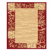Covor living / dormitor Sintelon Practica 55ECC, polipropilena, dreptunghiular, crem + rosu, 160 x 230 cm