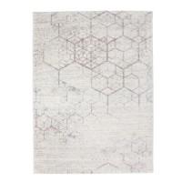 Covor living / dormitor McThree Play A280 X112, polipropilena, 120 x 170 cm, alb + roz, dreptunghiular