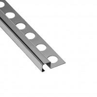 Profil inox pentru gresie si faianta Listelo, argintiu, lucios 10 x 10 mm, 2.6 m