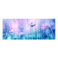 Panou decorativ din sticla, pentru bucatarie / baie Glasfabrik DKEMG37, aspect floral, 1400 x 600 x 4 mm