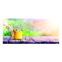 Panou decorativ din sticla, pentru bucatarie / baie Glasfabrik DKEMG46, aspect floral, 1400 x 600 x 4 mm