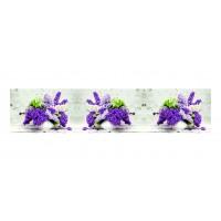 Panou decorativ din sticla, pentru bucatarie / baie, Glasfabrik DKEMG85, aspect floral, 1400 x 600 x 4 mm