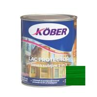 Lac / lazura subtire 2 in 1 pentru lemn, Kober, verde, interior / exterior, 0.75 L
