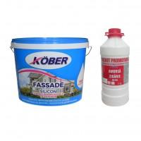 Vopsea superlavabila exterior Kober Fassade, alba, 15 L + amorsa Kober 3 L