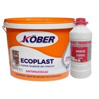 Vopsea lavabila interior, Ecoplast, alba, 15 L + Amorsa Kober 3 L