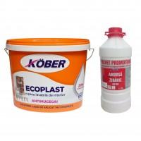 Vopsea lavabila interior, Ecoplast, antimucegai, alba, 15 L + Amorsa Kober 3 L
