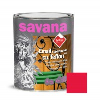 Vopsea alchidica pentru lemn / metal, Savana cu teflon, interior / exterior, rosie, 0.75 L