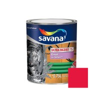 Vopsea alchidica pentru lemn / metal, Savana Ultrarezist cu teflon, interior / exterior, rosu, 0.75 L