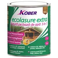 Lac / lazura 3 in 1 pentru lemn, Kober Ecolasure Extra, alb, pe baza de apa, interior / exterior, 0.75 L
