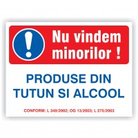 Indicator informare Nu vindem minorilor alcool si tutun, PVC, 20 x 15 cm