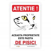 Indicator semnalizare Atentie pisici, PVC, 30 x 20 cm