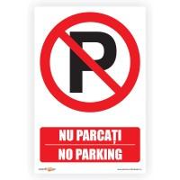 Indicator semnalizare Nu parcati, PVC, 30 x 20 cm