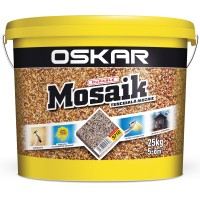 Tencuiala decorativa acrilica, interior / exterior, Oskar Mosaik 9718, mozaicata, 25 kg