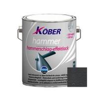Vopsea alchidica pentru metal Kober Hammer, efect lovitura de ciocan, interior / exterior, negru E81900, 2.5 L