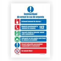 Indicator informare instructiuni in caz de urgenta Creative sign, pvc, forma dreptunghiulara, 40 x 30 cm