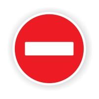 Indicator semnalizare Depasirea interzisa, autocolant, diametru 12 cm