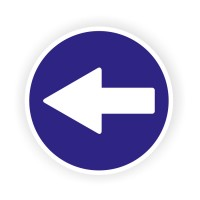Indicator semnalizare depasire stanga Creative sign, autocolant, forma rotunda, diametru 12 cm
