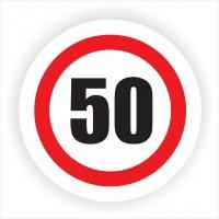Indicator semnalizare Limitare viteza 50, autocolant, diametru 12 cm
