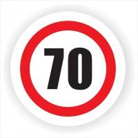 Indicator semnalizare Limitare viteza 70, autocolant, diametru 12 cm