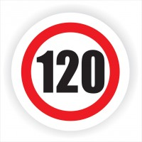 Indicator semnalizare Limitare viteza 120, autocolant, diametru 12 cm