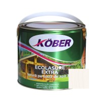 Lac / lazura 3 in 1 pentru lemn, Kober Ecolasure Extra, alb, pe baza de apa, interior / exterior, 2.5 L