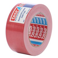 Banda adeziva, pentru reparatii, din textil, rosie, tesa 4688, 5 cm x 25 m