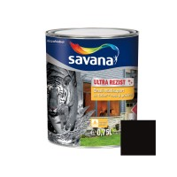 Vopsea acrilica pentru lemn / metal, Savana Ultrarezist cu Teflon, interior / exterior, pe baza de apa, negru, 0.75 L