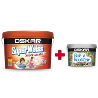 Vopsea lavabila interior Oskar Superweiss alb 8.5L + Oskar Baie & Bucatarie 2.5 L