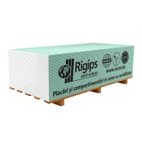 Placa gips carton tip H protectie umiditate Rigips RBI 12.5 x 1200 x 3000 mm