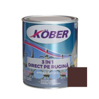 Vopsea alchidica pentru metal Kober 3 in 1, interior / exterior, brun, 0.75 L
